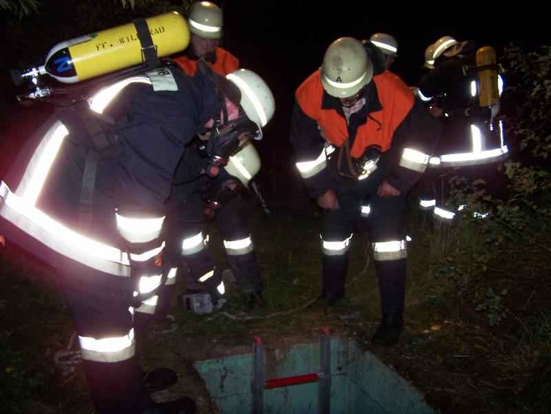Einsatzübung 'Feuer in Schacht' mit Menschenrettung